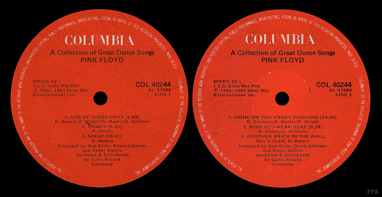 Pink Floyd Archives South African Compilation Lp Discography