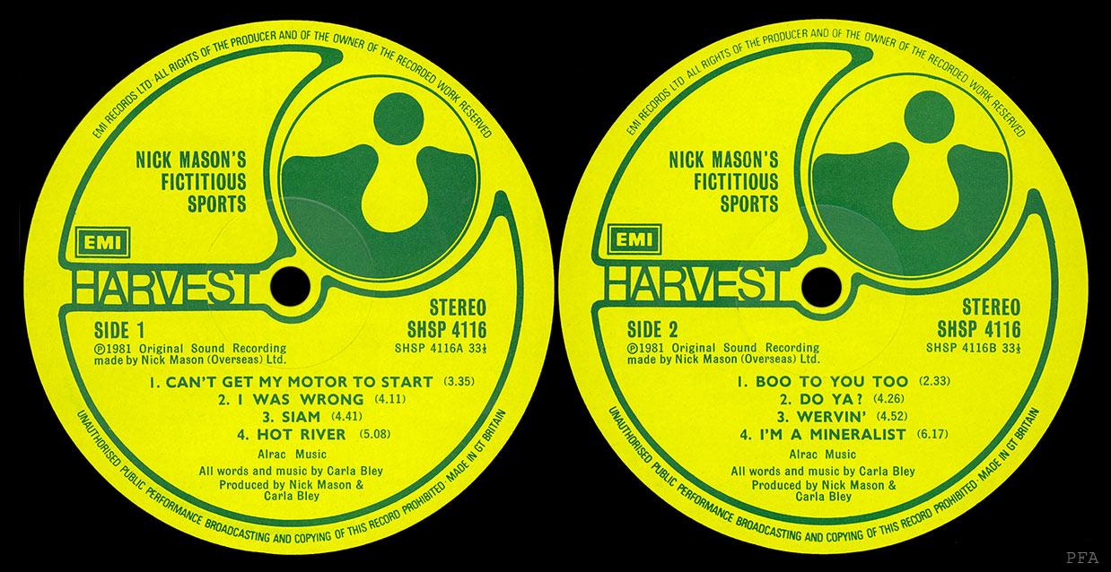 Pink Floyd Archives U K Nick Mason Lp Discography